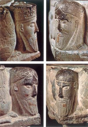 Les 4 têtes se trouvant sur les fonts baptismaux de Saint-Séverin